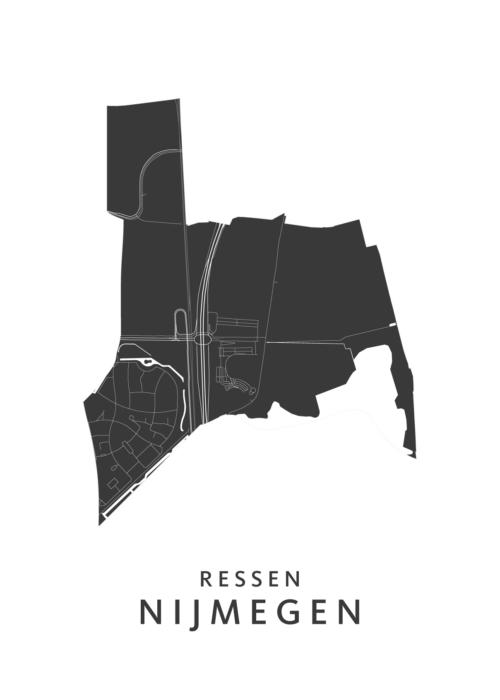 Nijmegen - Ressen White Stadskaart Poster | Kunst in Kaart