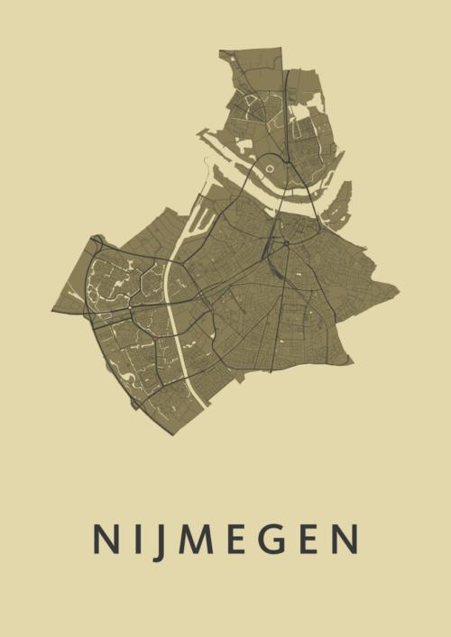 Nijmegen GoldenRod Stadskaart Poster | Kunst in Kaart