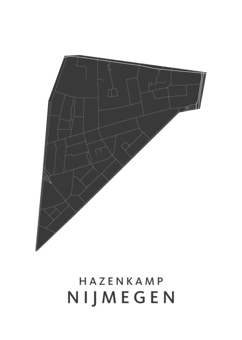 Nijmegen - Hazenkamp White Stadskaart Poster | Kunst in Kaart