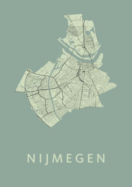Nijmegen Olive Stadskaart Poster | Kunst in Kaart