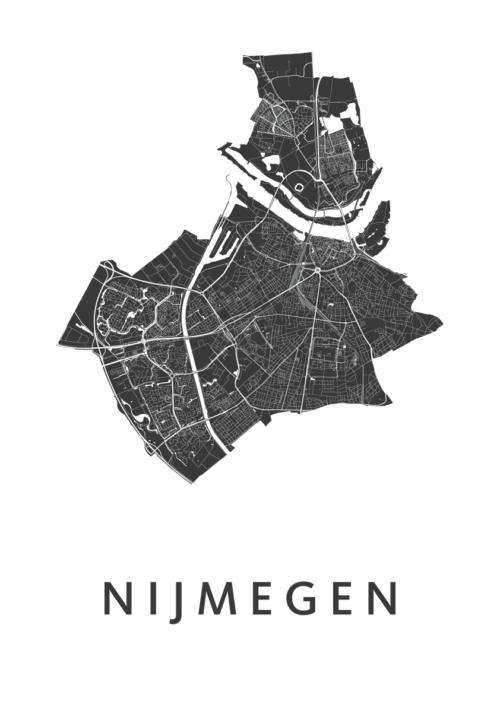 Nijmegen White Stadskaart Poster | Kunst in Kaart
