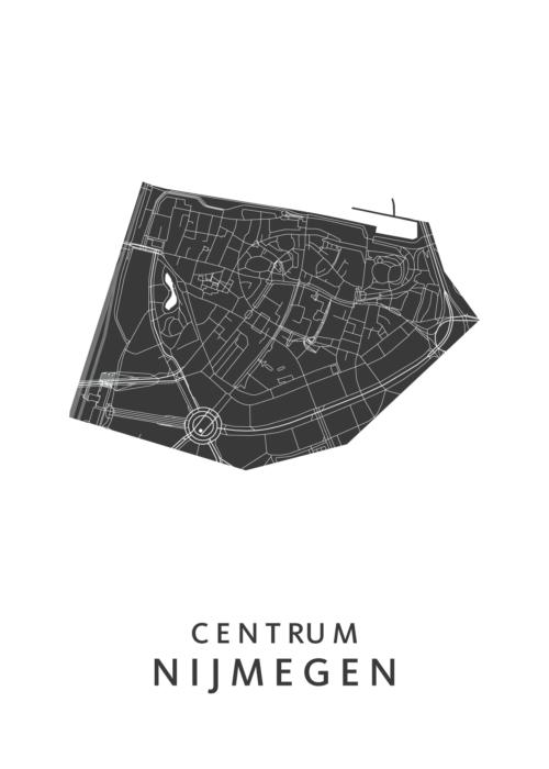 Nijmegen - Centrum White Stadskaart Poster | Kunst in Kaart