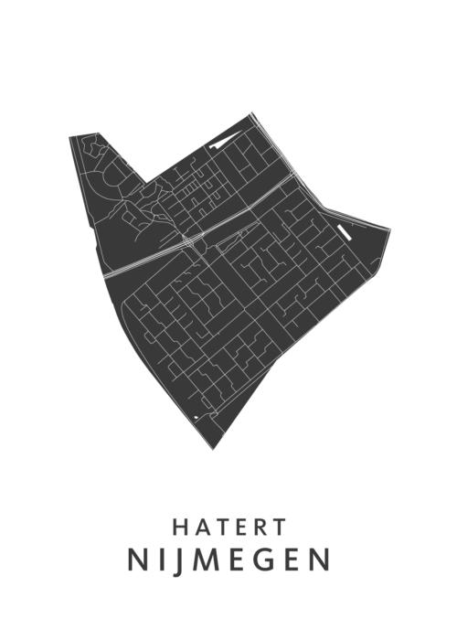 Nijmegen - Hatert White Stadskaart Poster | Kunst in Kaart