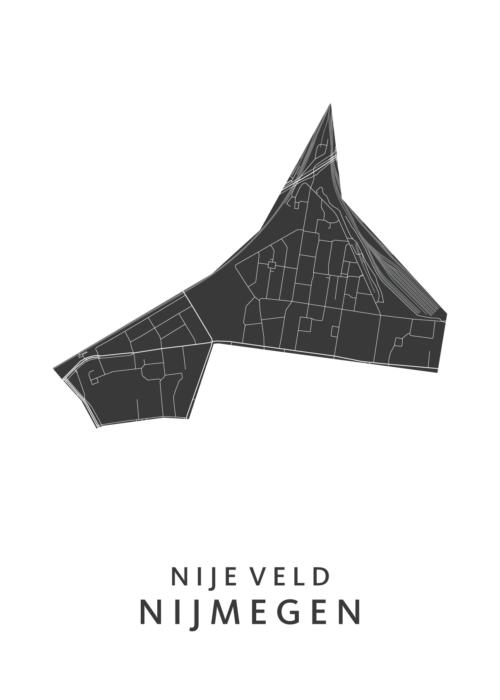 Nijmegen - Nije Veld White Stadskaart Poster | Kunst in Kaart