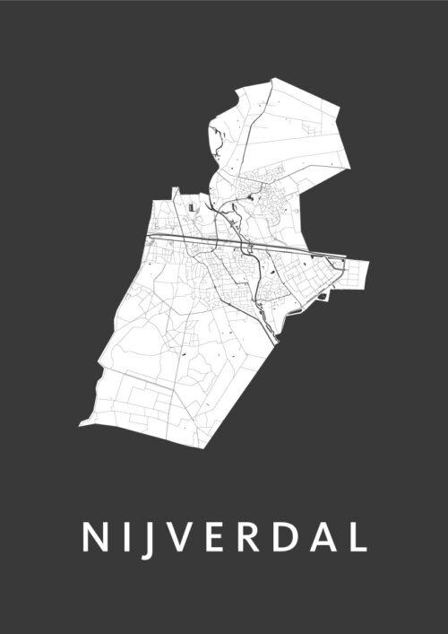 Nijverdal Black Stadskaart Poster | Kunst in Kaart