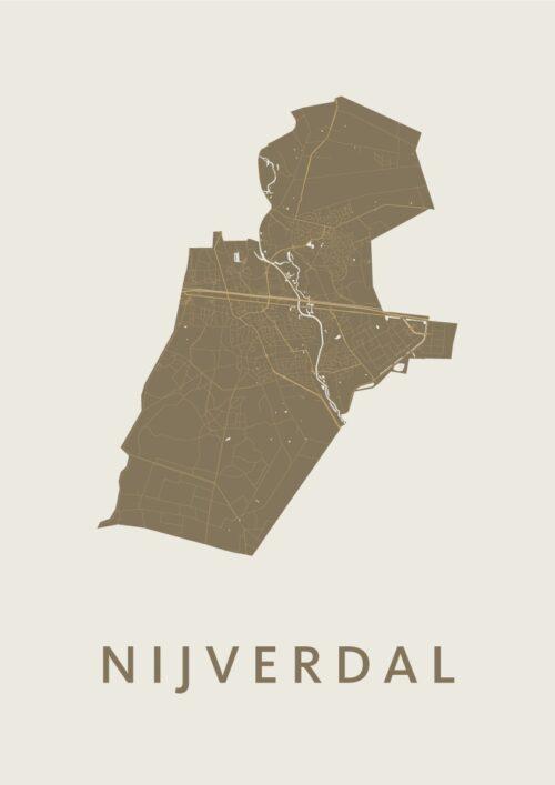 Nijverdal Gold Stadskaart Poster | Kunst in Kaart