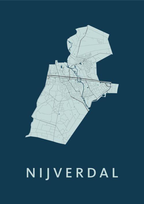 Nijverdal Navy Stadskaart Poster | Kunst in Kaart