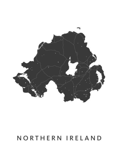 Northern Ireland Country Map stadskaart poster