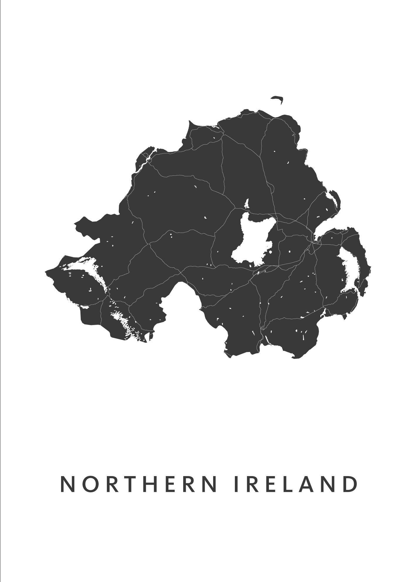 Northern Ireland Country Map stadskaart poster