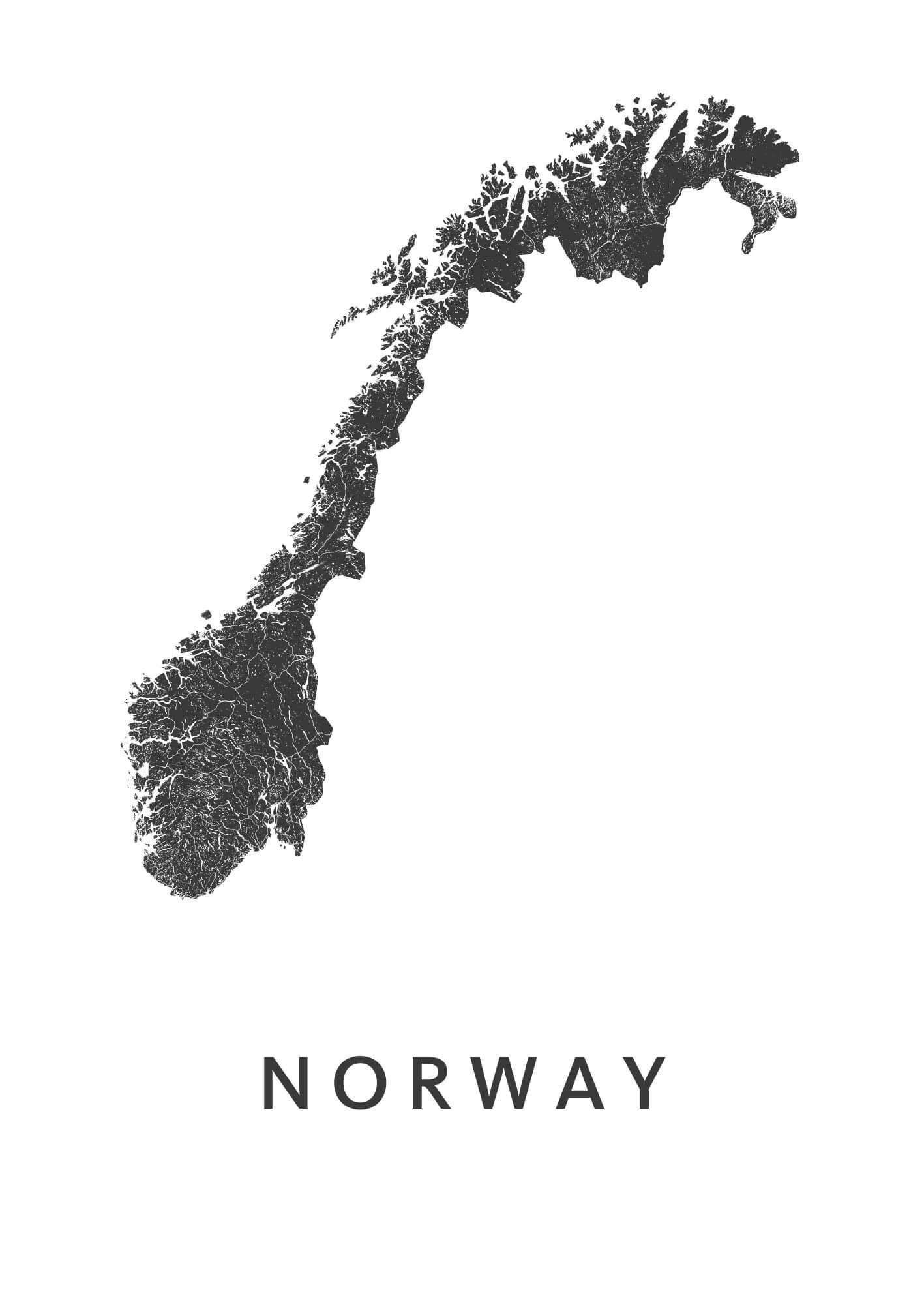 Norway White B2 stadskaart poster