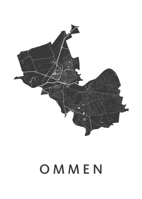 Ommen White Stadskaart Poster | Kunst in Kaart