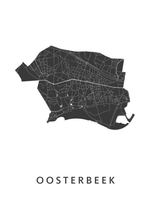 Oosterbeek White Stadskaart Poster | Kunst in Kaart