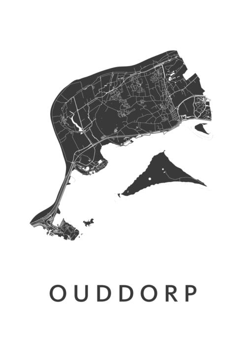 Ouddorp White Stadskaart Poster | Kunst in Kaart