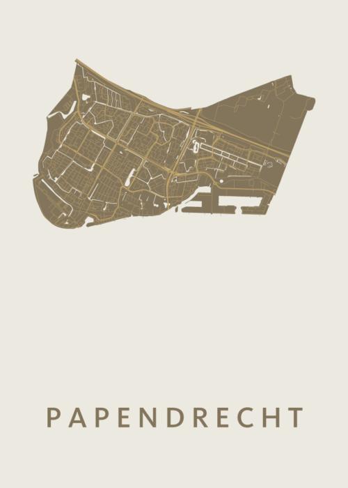 Papendrecht Gold Stadskaart Poster | Kunst in Kaart