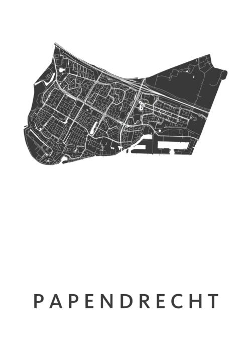 Papendrecht White Stadskaart Poster | Kunst in Kaart