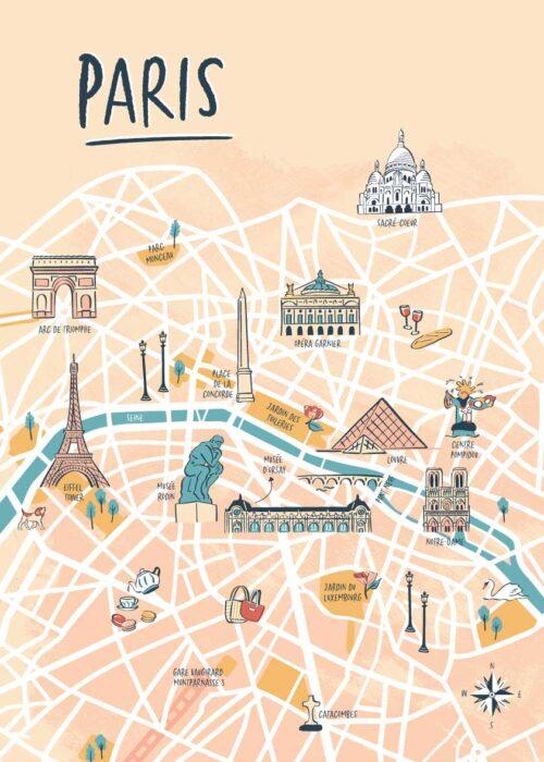 Geïllustreerde kaart - Paris Poster