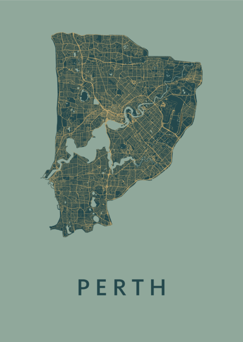 Perth Stadskaart poster Amazon   Kunst in Kaart