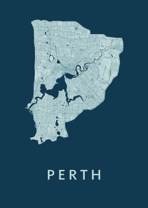 Perth Feldgrau City Map