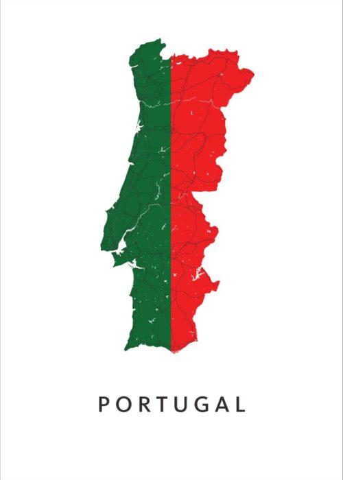 Portugal Landkaart - Landvlag - Poster