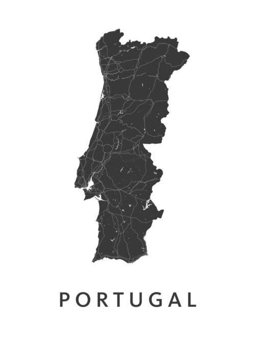 Portugal White B2 stadskaart poster
