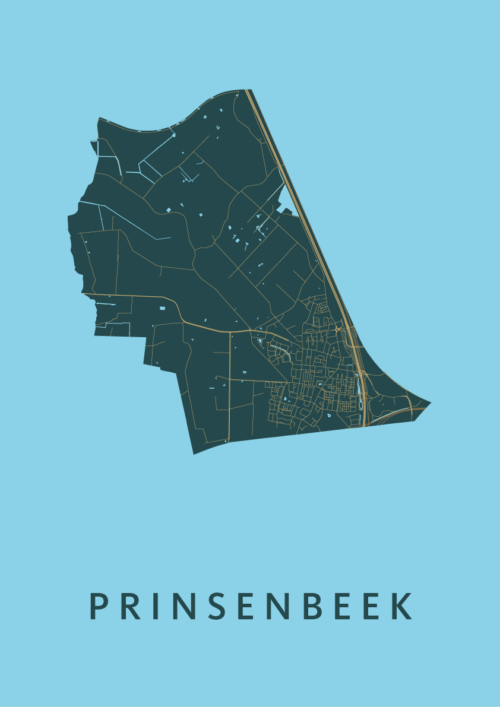 Prinsenbeek Azure Stadskaart Poster   Kunst in Kaart
