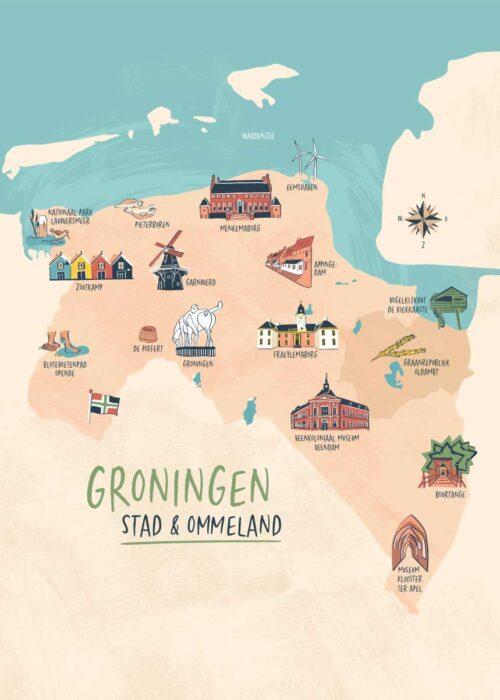 Geïllustreerde kaart - Provincie Groningen