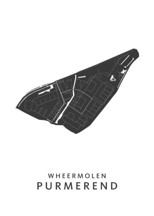 Purmerend - Wheermolen Wijkkaart - wit