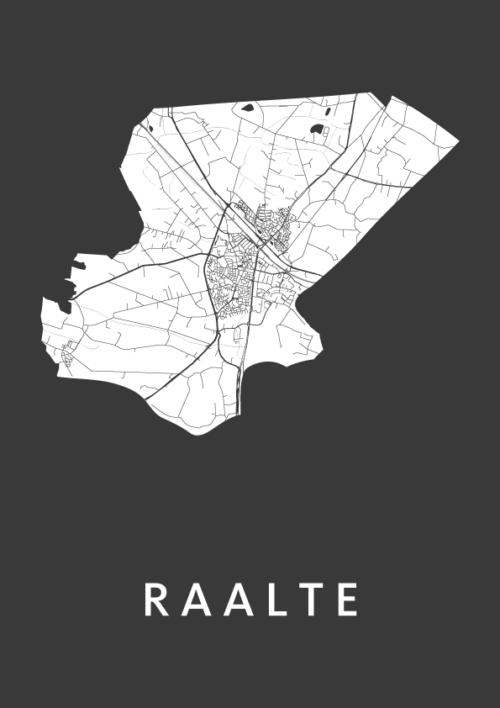 Raalte Black City Map