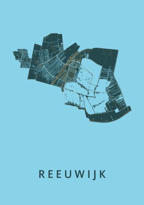 Reeuwijk Azure Stadskaart Poster | Kunst in Kaart