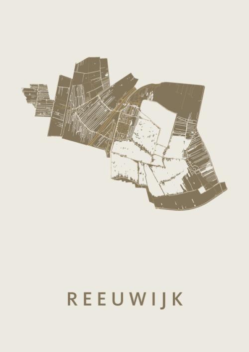 Reeuwijk Gold Stadskaart Poster | Kunst in Kaart