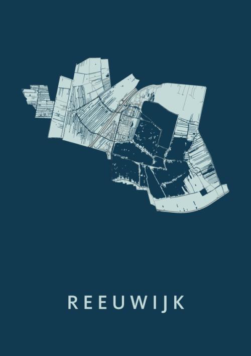 Reeuwijk Navy Stadskaart Poster | Kunst in Kaart