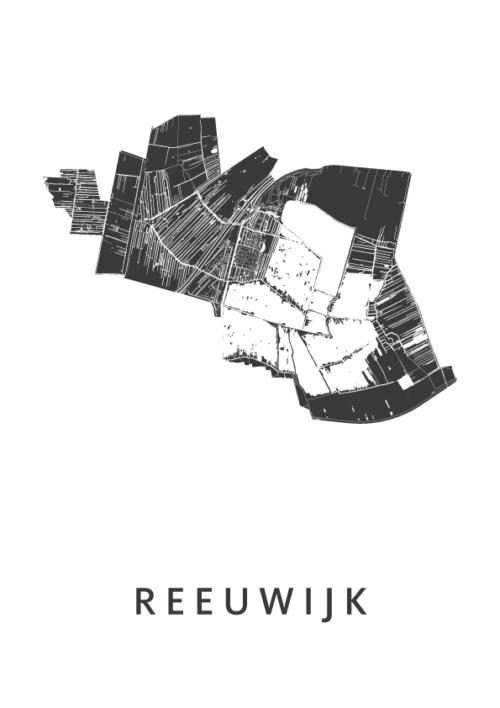 Reeuwijk White Stadskaart Poster | Kunst in Kaart