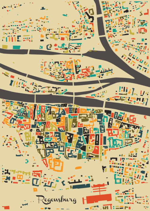 Regensburg Autumn Mosaic Map