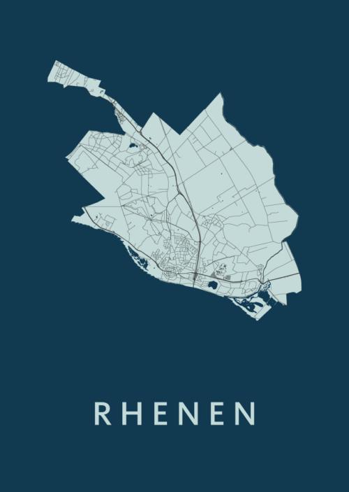 Rhenen Navy Stadskaart Poster | Kunst in Kaart