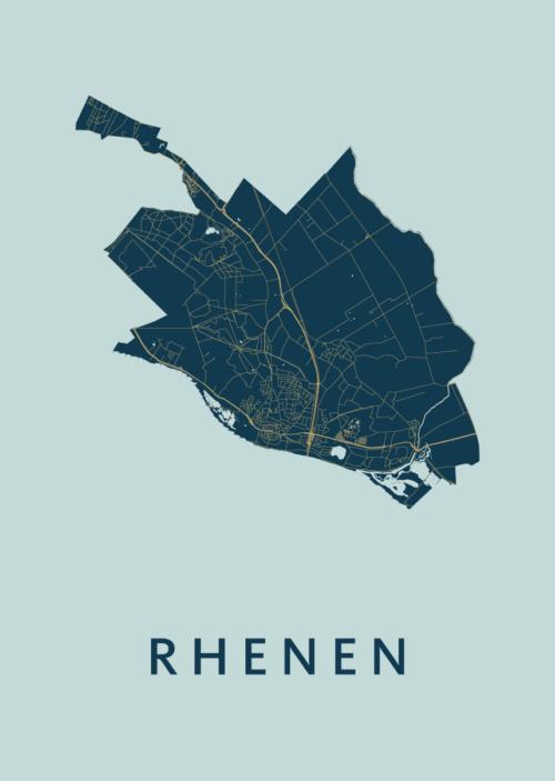 Rhenen Prussian Stadskaart Poster | Kunst in Kaart