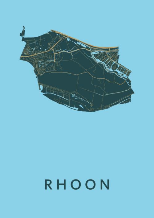 Rhoon Azure Stadskaart Poster | Kunst in Kaart