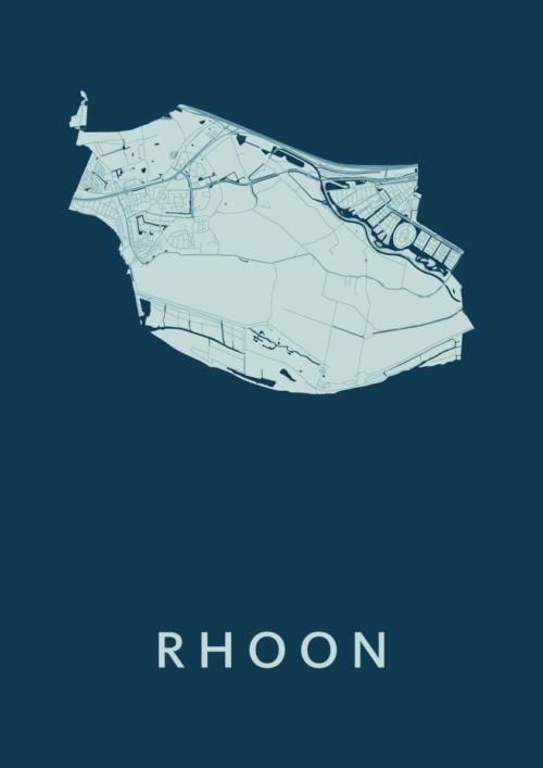 Rhoon Feldgrau Stadskaart Poster | Kunst in Kaart