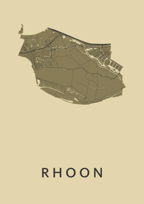 Rhoon GoldenRod Stadskaart Poster | Kunst in Kaart