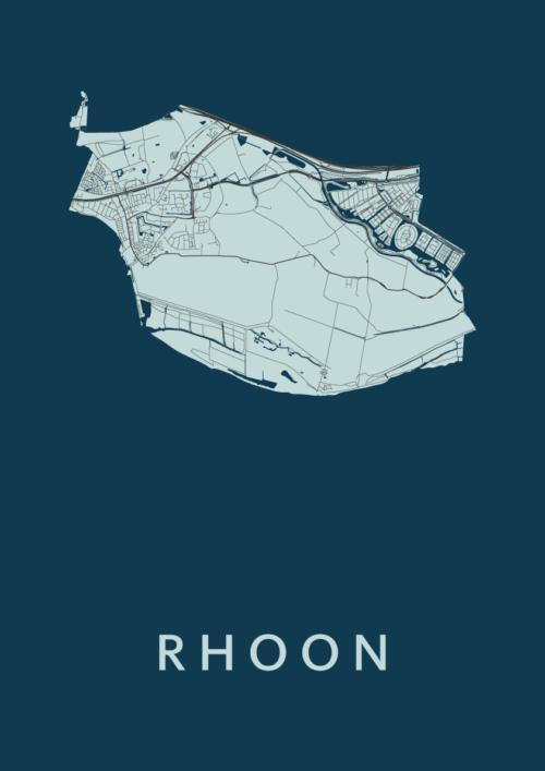 Rhoon Navy Stadskaart Poster | Kunst in Kaart