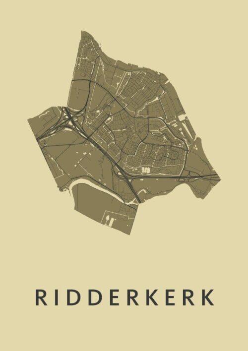 Ridderkerk GoldenRod Stadskaart Poster | Kunst in Kaart