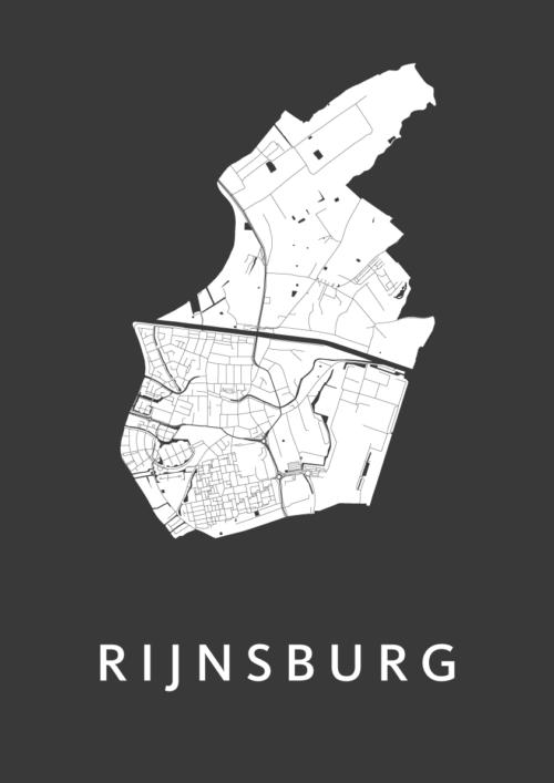 Rijnsburg Black Stadskaart Poster | Kunst in Kaart