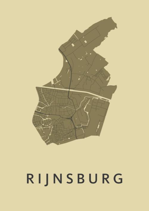 Rijnsburg GoldenRod Stadskaart Poster | Kunst in Kaart
