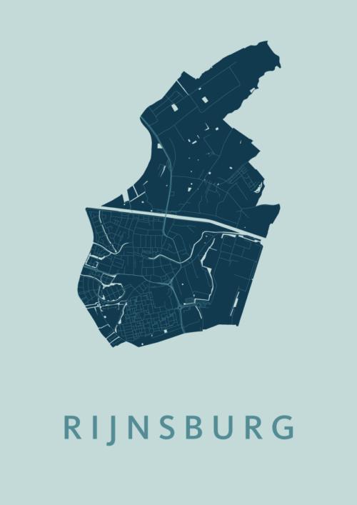 Rijnsburg Mint Stadskaart Poster | Kunst in Kaart
