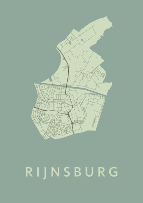 Rijnsburg Olive Stadskaart Poster | Kunst in Kaart