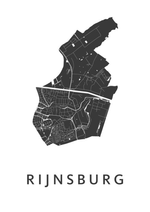 Rijnsburg White Stadskaart Poster   Kunst in Kaart