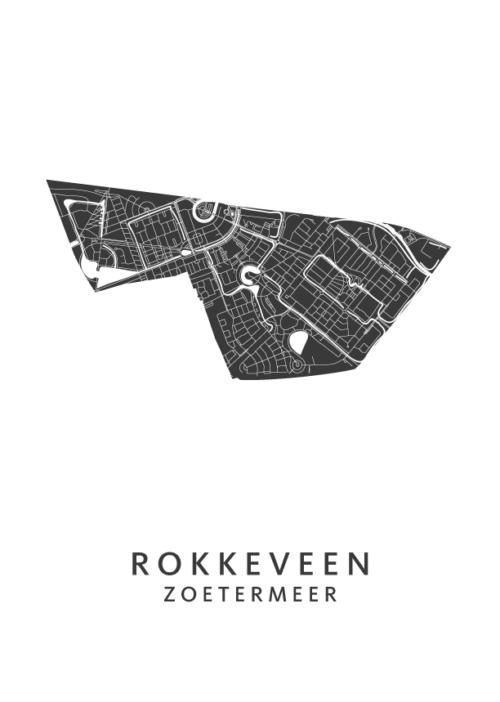 Zoetermeer - Rokkeveen White Stadskaart Poster | Kunst in Kaart