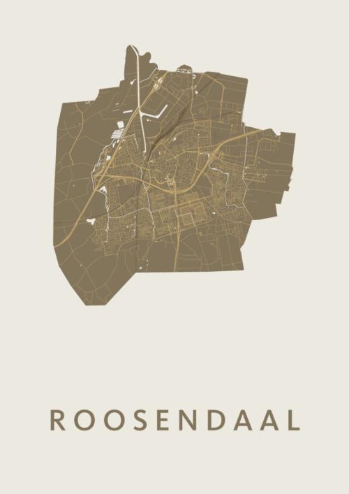 Roosendaal Gold Stadskaart Poster | Kunst in Kaart