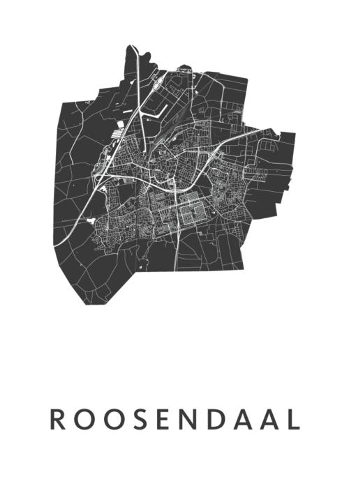 Roosendaal White Stadskaart Poster | Kunst in Kaart