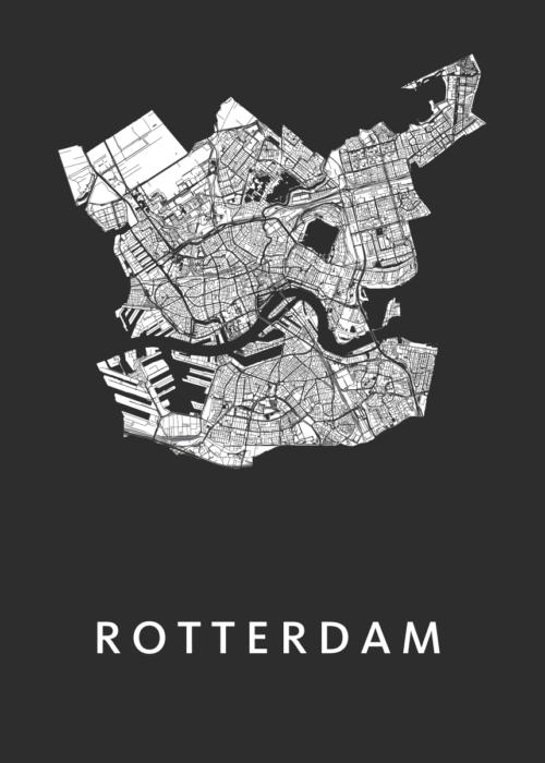 Rotterdam Stadskaart Centrum stadskaart poster