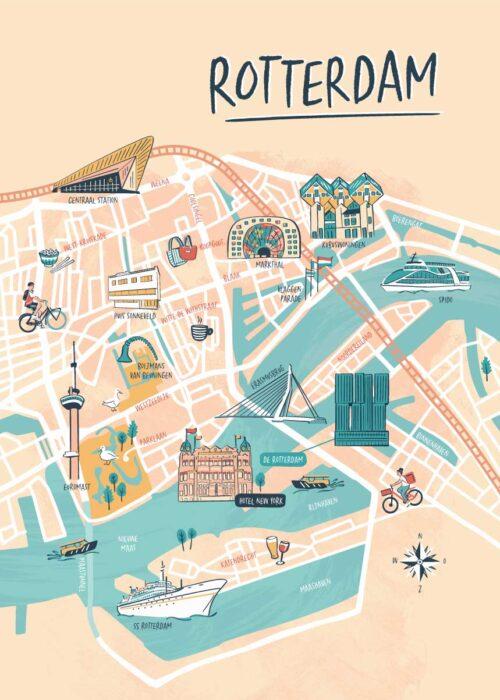 Geïllustreerde kaart - Rotterdam Poster